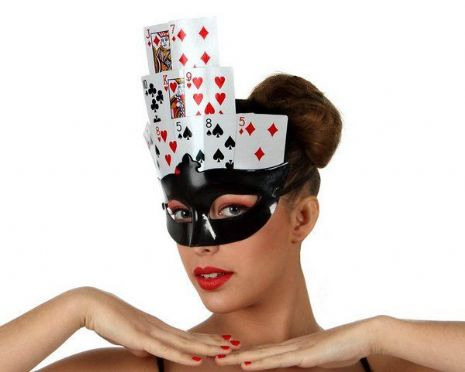 Party Mask Black with Poker Cards Vegas High Roller Chips Cards Craps